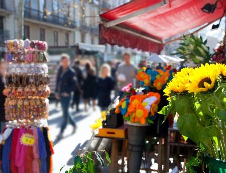 barcelona spain: Barcelona Ramblas street life from flowers market
