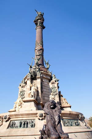 Barcelona Cristobal Colon square statue monument on blue sky photo