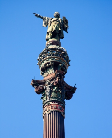 paseig: Barcelona Cristobal Colon square statue monument on blue sky