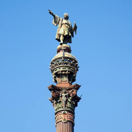 christopher columbus: Barcelona Cristobal Colon square statue monument on blue sky
