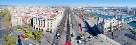 the ramblas: Aerial panoramic Barcelona view Port Passeig Colon and Ramblas