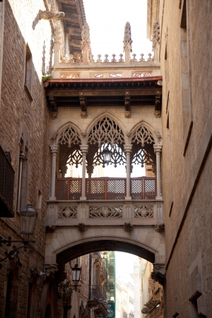 generalitat: Barcelona Palau generalitat arch corridor in gothic Barrio Stock Photo