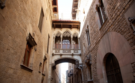 palau: Barcelona Palau generalitat arch corridor in gothic Barrio Stock Photo