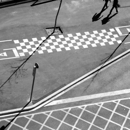 City asphalt lines and shadow aerial view in Barcelona photo