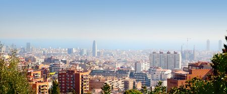 city park skyline: Barcelona aerial skyline with Mediterranean sea view from Park Guell Stock Photo