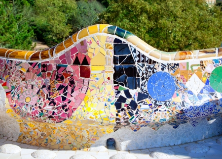 trencadis: Barcelona Park Guell of Gaudi tiles mosaic serpentine bench modernism Stock Photo