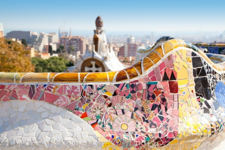Barcelona Park Guell of Gaudi tiles mosaic serpentine bench modernism Stock Photo - 13873123