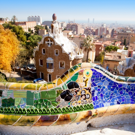 Barcelona park Guell fairy tale mosaic house on entrance photo