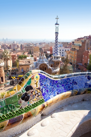 serpentine: Barcelona Park Guell of Gaudi tiles mosaic serpentine bench modernism Stock Photo