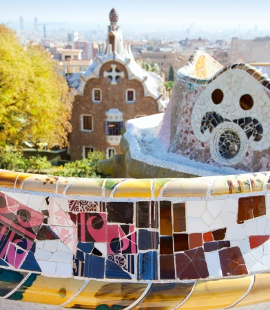 Barcelona park Guell fairy tail mosaic house on entrance photo