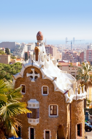 Barcelona park Guell fairy tale mosaic house on entrance Stock Photo - 13873139