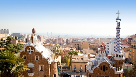 guell: Barcelona Park Guell of Gaudi Gingerbread and fairy tale houses