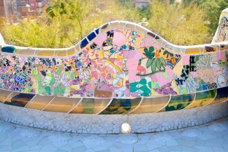 Barcelona Park Guell of Gaudi tiles mosaic serpentine bench modernism Stock Photo
