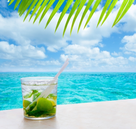 beverage mojito drik in tropical turquoise tropical sea like in paradise  Stock Photo
