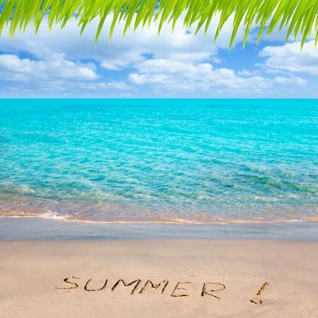 Karibik tropischen Strand mit Sommer-Wort in den Sand geschrieben Lizenzfreie Bilder - 14274616