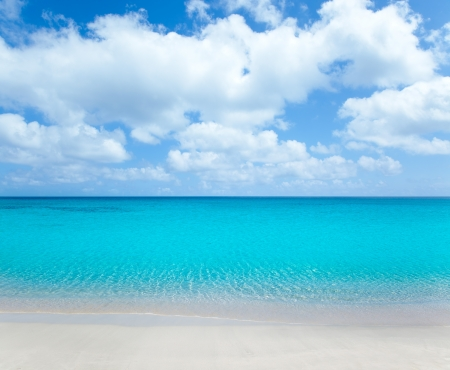 mayan riviera: beach tropical with white sand and turquoise water under blue sky Stock Photo