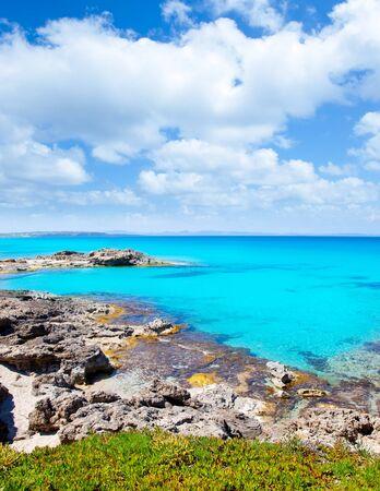 formentera: Balearic formentera island in escalo rocky beach and turquoise sea