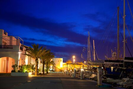 Balearic Formentera marina in night lights with yachts and palm trees in mediterranean