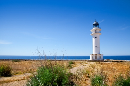 formentera: Barbaria Cape lighthouse in Formentera island on Mediterranean Balearic sea