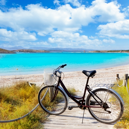 balearic: Bicycle in formentera beach on Balearic islands at Illetes Illetas
