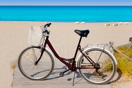 formentera: Bicycle in formentera beach on Balearic islands at Levante East Tanga Stock Photo
