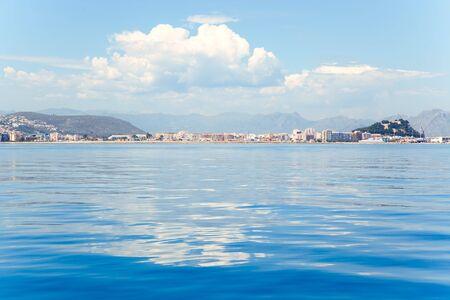 vac: Alicante Denia view from blue calm Mediterranean sea in Spain Stock Photo