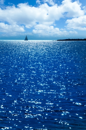 alga: Formentera sunset in Espalmador s alga beach with sailboat