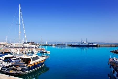 Balearic formentera island port with boats in Marina of La Savina photo