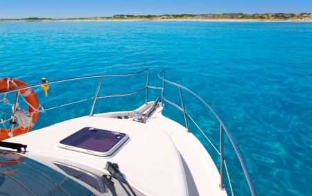 ibiza: Boat in Formentera island transparent water on llevant beach Stock Photo