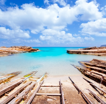 Es Calo de San Agusti port in Formentera island wooden boat railways Stock Photo - 14285585