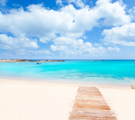 beaches of spain: Els Pujols Formentera white sand beach turquoise water in Balearic islands
