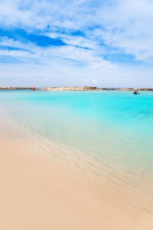 pujols: Els Pujols Formentera white sand beach turquoise water in Balearic islands