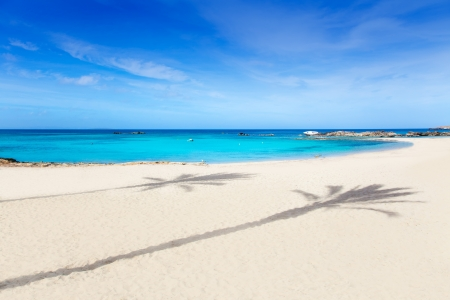 formentera: Els Pujols Formentera white sand beach turquoise water in Balearic islands
