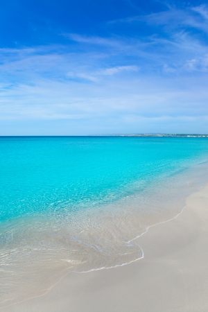 riviera: beach tropical with white sand and turquoise water under blue sky Stock Photo