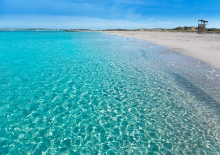 formentera: Formentera Llevant tanga beach with perfect turquoise water