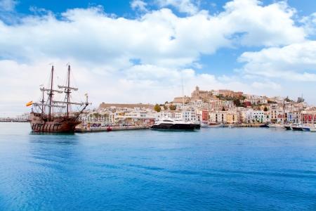 corsair: Eivissa ibiza town with old classic wooden corsair boat