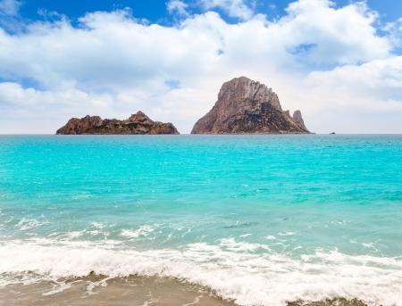es: Cala d Hort Ibiza beach Es Vedra island in Mediterranean Stock Photo