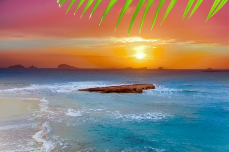 Ibiza Cala Conta Comte Compte sunset with bledas islands in horizon Stock Photo