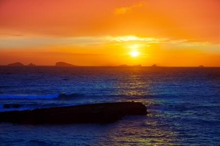 Ibiza Cala Conta Comte Compte sunset with bledas islands in horizon