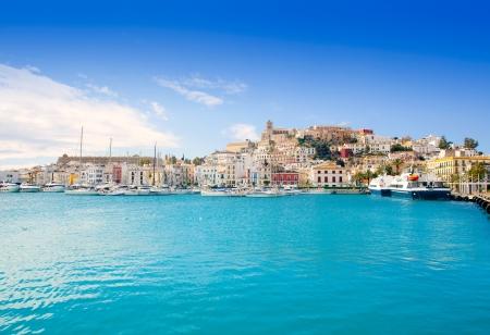 Eivissa Ibiza town with church under summer blue sky