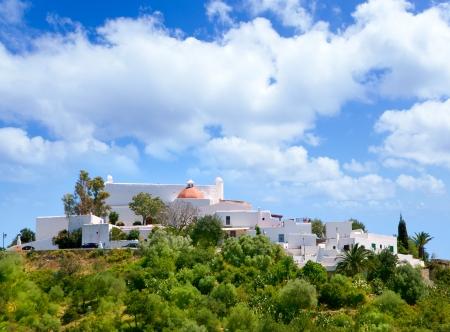 whitewash: Ibiza Santa Eulalia des Riu with houses typical town in Balearic islands
