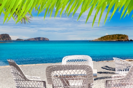 des: Ibiza Patja des Canar beach with turquoise water in Balearic islands