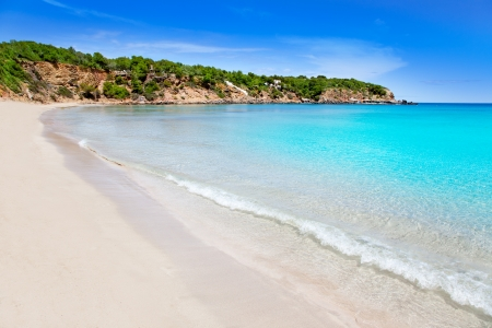 ibiza: Cala Llenya in Ibiza with turquoise water in Balearic islands Stock Photo