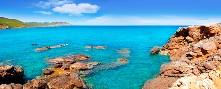 Ibiza Canal d en Marti Pou des Lleo beach in balearic islands of Mediterranean sea photo