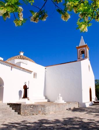 sant: Ibiza white church in sant Joan de Labritja at Balearic islands