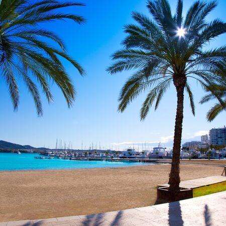 sant: Ibiza Sant antoni de Portmany Abad beach with palm trees