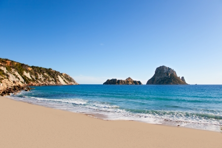 vedra: Es vedra island of Ibiza view from Cala d Hort in Balearic islands Stock Photo