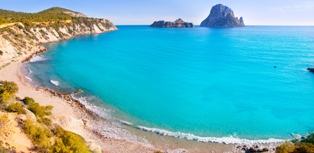 es: Es vedra island of Ibiza view from Cala d Hort in Balearic islands Stock Photo