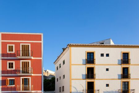 Ibiza island facades from Eivissa town in Balearic photo