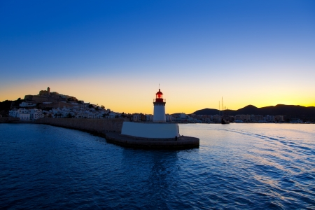 Eibissa Ibiza town sunset from red lighthouse beacon in port Stock Photo - 14250398
